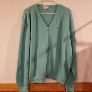 Vintage Lacoste Club Green vneck sweater XXL